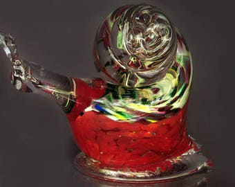 Glass snail, season gift, Paperweight Figurine, crystal, Murano Animal, Glass Sculpture, House warming gift, Blown Glass, Modern Art Crystal