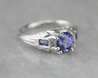 Art Deco Sapphire Engagement Ring, Antique Anniversary Ring, Birthstone Ring MCHM7A-R