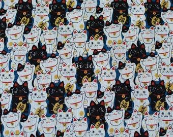 Tissu japonais chats Manekineko bleu par la Cour de la moitié
