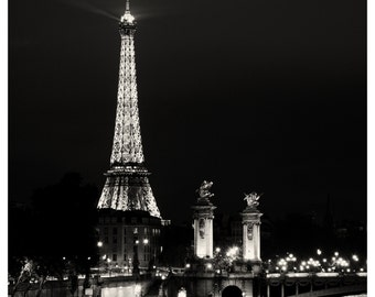Paris photo 12x12 - Paris After Hours - Eiffel, City Lights - Fine art photography - Black and White Photography - urban, modern romantic