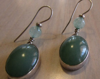 Aventurine and Sterling Silver Wire Dangle Earrings