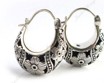 Cherry Blossom Flower Hobo Hoop Oxidized Modern Sterling Silver Earrings JD104