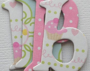 CONFECTIONS - DOODLEBUG 63 Lowercase Chipboard Letters & Cupcake Die Cuts, Birthday Invitations