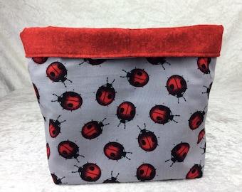 Ladybirds ladybugs Fabric basket storage bin box