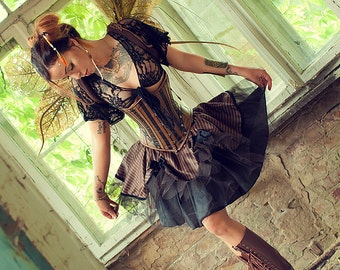 Steampunk Brown Striped Tutu Skirt with Tulle