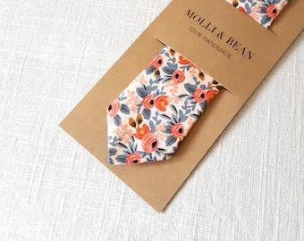 Peach Floral Necktie, Skinny Floral Necktie, Boys Floral Necktie, Peach Floral Necktie, Men's Floral NeckTie, Groomsmen Floral Necktie