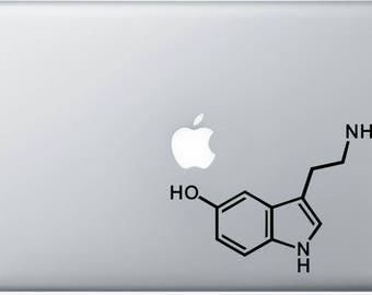Serotonin Molecule Decal for Laptop, or bumper sticker