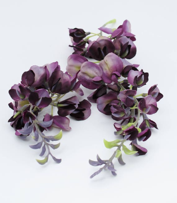 Dark Purple Wisteria | Artificial Silk Flower Spray | Wreath ...