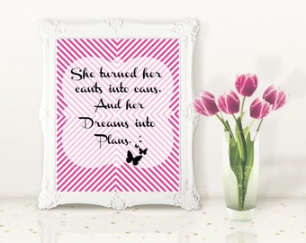 She Turned Her Can'ts into Cans and Her Dreams into Plans | Instant Download Printable | Inspirational Quote | Home Decor |