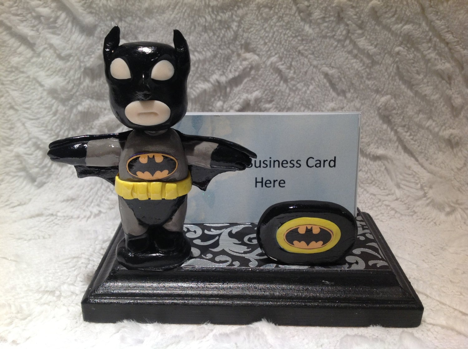 Polymer clay Batman business card holder gift idea Batman