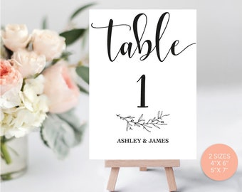 Wedding Table Numbers, Printable Table Numbers, Rustic Kraft Table Numbers, DIY Table Numbers Editable, 4x6, 5x7, PDF Instant Download LW110