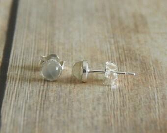 Moonstone Stud Earrings, 4mm Sterling Silver Studs, Gemstone Stud Earrings, Pierced Ears, Moonstone Earrings Sterling Silver Moonstone Studs