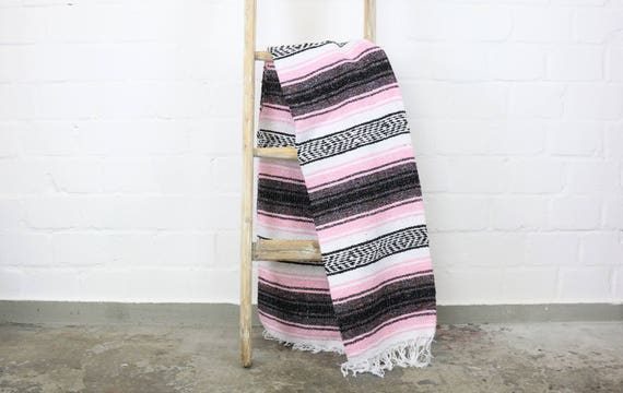 Solid woven Navajo blanket from Mexico Sarape 180 x 130 cm Pink