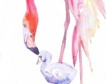 Flamingo Art Print , Watercolor Painting, Baby Animals, Flamingo Nursery Decor, Gifts, Mother and Baby, Pink , Bird nursery art, Watercolour