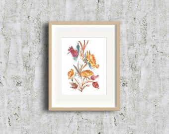 Limited Edition - Fire Orange Geums Flower - Watercolor Fine Art Print - Give Art - Strong Flower, Art Gift, Give Art