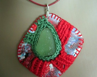 Seaglass art pendant necklace hand painted embroidered unique OOAK jewellery