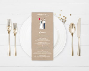 The Avery Hand-Drawn Caricature Wedding Menu Card