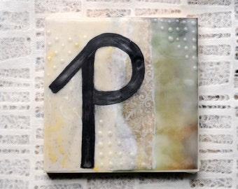 Vintage Style, Trendy, Lowercase Letter P Painting: Encaustic Art