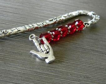Signet en langue des signes avec des perles de verre rouge fleur Berger crochet en argent couleur I Love You