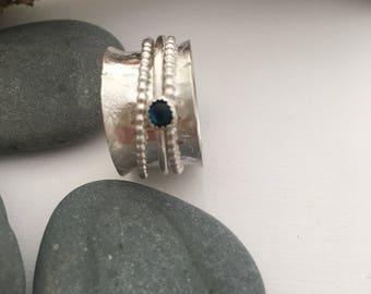 Sterling Silver Spinner Ring - Silver Fidget Ring - Silver Spinner Ring with Gemstone