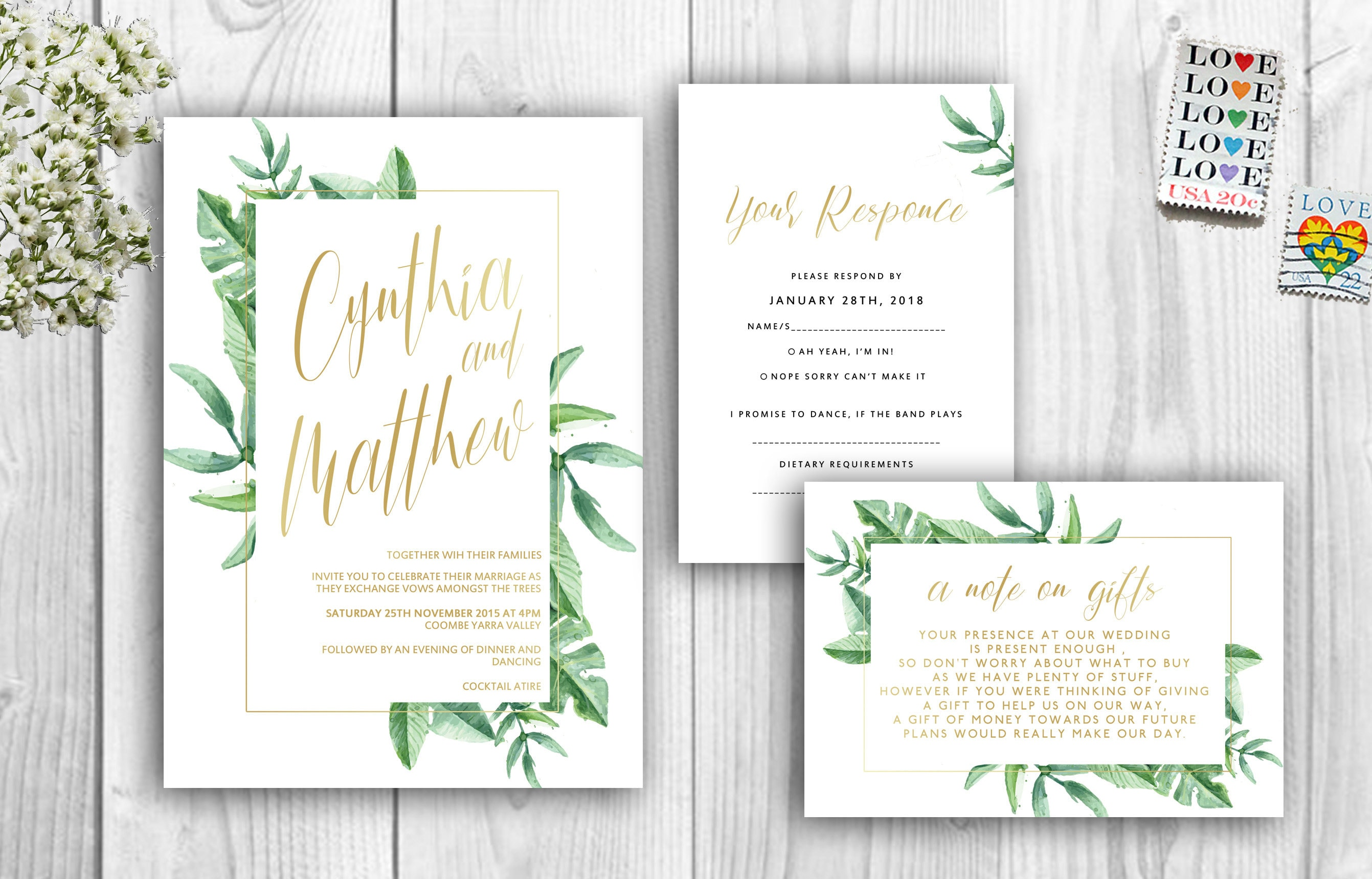 Tropical Wedding Invitations Green and Gold