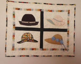 Four Seasons Quilted Wall Hanging. One of a kind creation of Hats