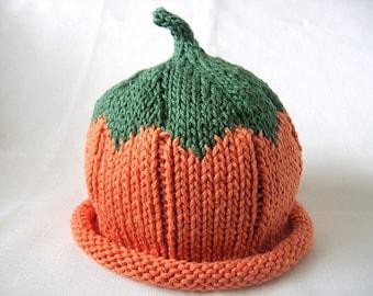 READY TO SHIP Pumpkin hat, Knit Orange Cotton Baby Hat, great photo prop