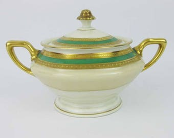 Vintage Rosenthal Gold Encrusted & Green Covered Sugar Bowl #2698