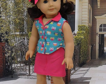 What a Hoot - Sleeveless blouse and mini skirt set for American Girl