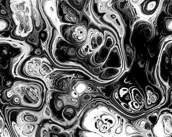 Artist Made Black White Lightening Strikes Kona Cotton Quilting Textile Art Fabric Panel