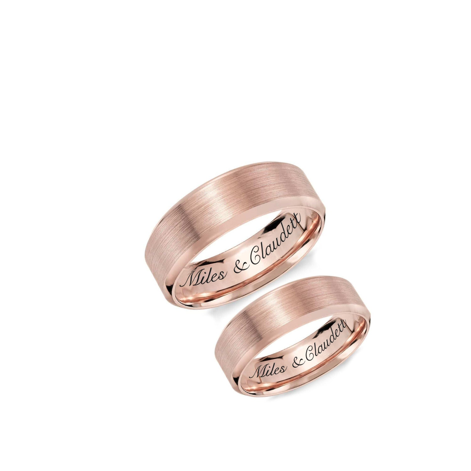 Personalized Rings Engraved Rings Rose Gold Ring Set