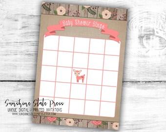 Girl Baby Shower Bingo Game Card Little Deer Woodland Animals Creatures Floral Rustic Wood Burlap Printable Instant Download Digital File