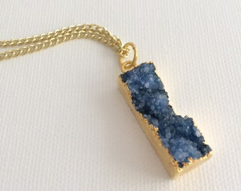 Navy Blue Druzzy Rectangle Geode Gold Necklace