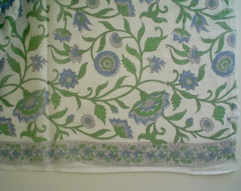 Blue and White Cotton Floral Hand Block Print Indian Fabric by the Half Yard