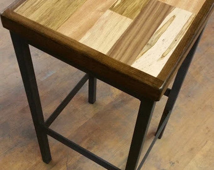 Modern Metal and Wood Stool Wood Stool Metal Stool Reclaimed Wood Stool Metal Frame