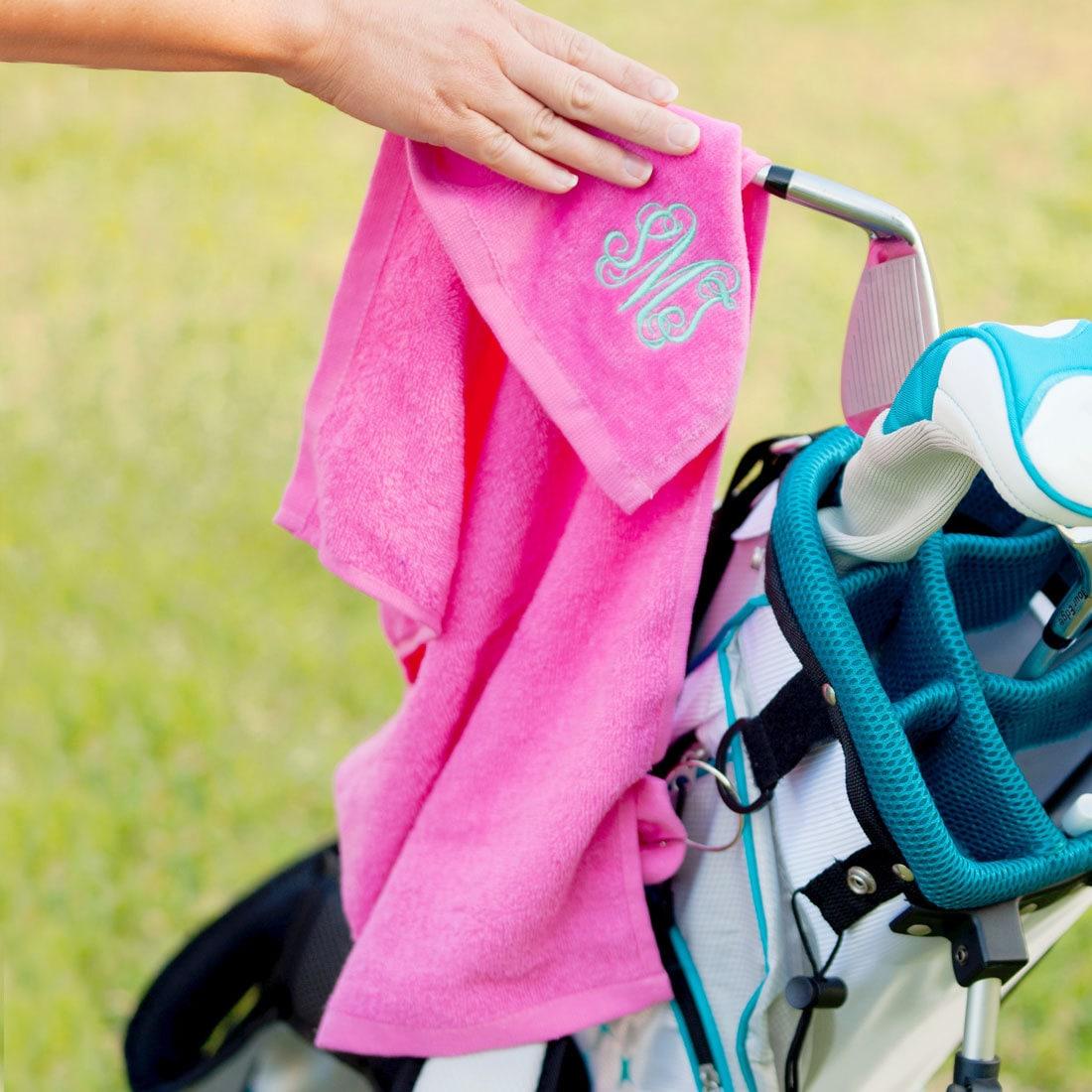 Hot Pink Golf Towel with Monogram Monogram Golf Towel Golf