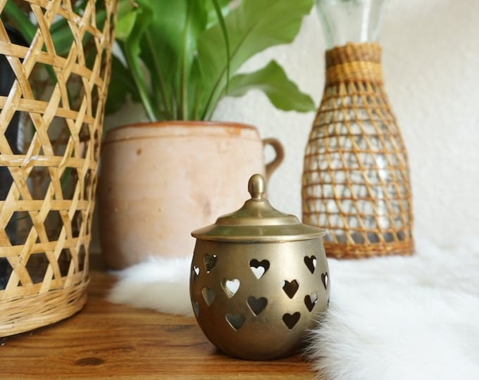 Small Vintage Lidded Brass Jar with Heart Cutouts