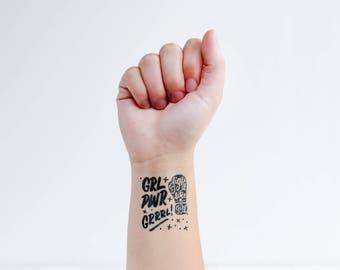 Planche tatouages temporaires / black / girl power / grrrl / fight like a girl