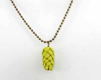 Hop Necklace on Antique Gold Ball Chain for your FAVORITE Hop Head - Beer Diva Beer Jewelry - Hop Jewelry - Hop Head Accessories