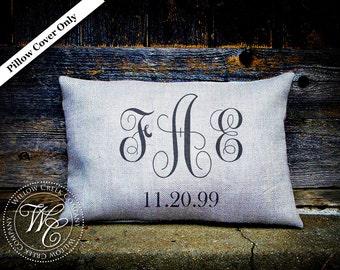Vine Monogram, Personalized Pillow, Burlap Pillow, Engagement Gift, Personalized Gift, Monogram Pillow, Personalized Burlap, Christmas Gifts