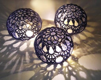 Wedding Table Centerpiece, Crochet Table Decor, Wedding LED Lighting, Tealight Shade,  Party Wedding Decoration, Votive Holders, Set of 5
