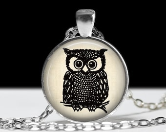 Owl Jewelry Pendant Wearable Art Owl Necklace Gift for Her