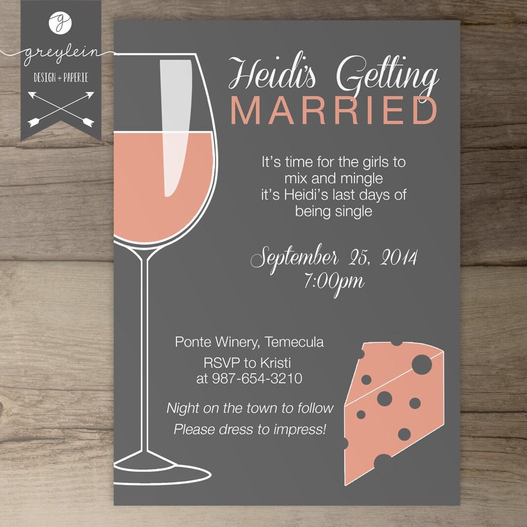 Wine and Cheese Bachelorette Party Invites / Invitations /