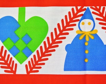 Swedish retro vintage 1970s printed cotton/ synth. tabelcloth runner with 3-color conv. Christmas Santa Claus motive on white bottomcolor