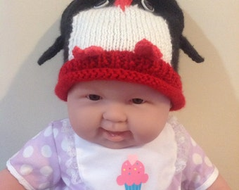 Baby Penguin Knit Hat with Wings and Feet
