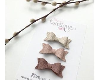 Mini Leather Dahlia hair bows (set of 3)