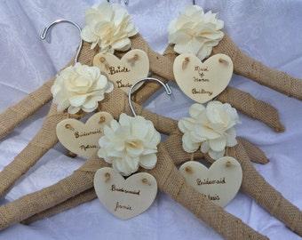 Name Wedding Dress Hanger, Bridesmaids Gifts, Rustic Burlap Hanger,  7