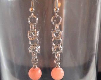 Red Quartz Byzantine Earrings