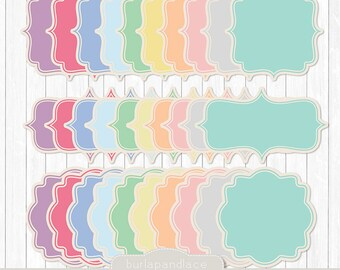 cliparts pastel frames label digital frame sticker digital rh etsy com Pastel Flowers Pastel Spring Flowers Border