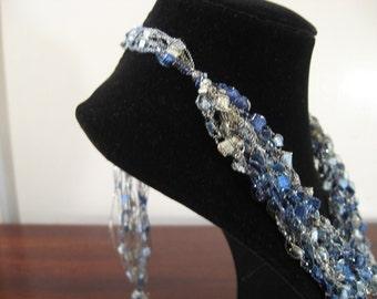 Blue, White and Silver  Trellis Necklaces / Crochet Necklace Item No. M3